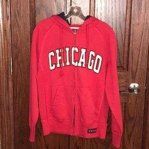 Red Chicago Zip up Sweatshirt